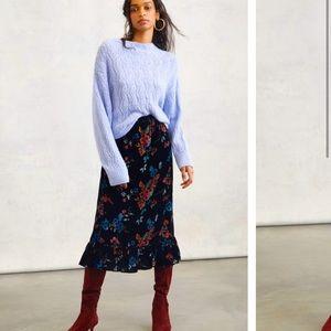 Anthropologie Willow Tiered Velvet MIDI Skirt XS